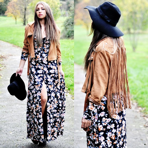 Killy Nicole - Missguided Jacket, Missguided Maxi Dress, Choies Hat - Autumn Feels