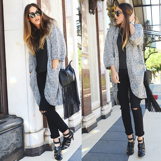 Alison Liaudat - H&M Cardigans, H&M Ripped Jeans, Zara Black Sandals, H&M Fringed Bag, Céline Sunnies - In the morning