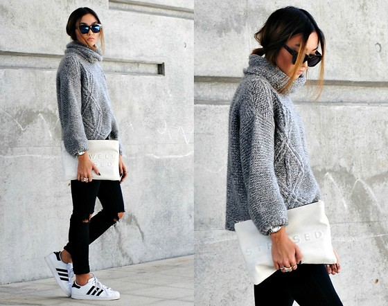 Konstanzia and Atusa Lechler - Zara Sweater, Adidas Sneaker, Zara Clutch, Bershka Sunglasses - Grey Knit
