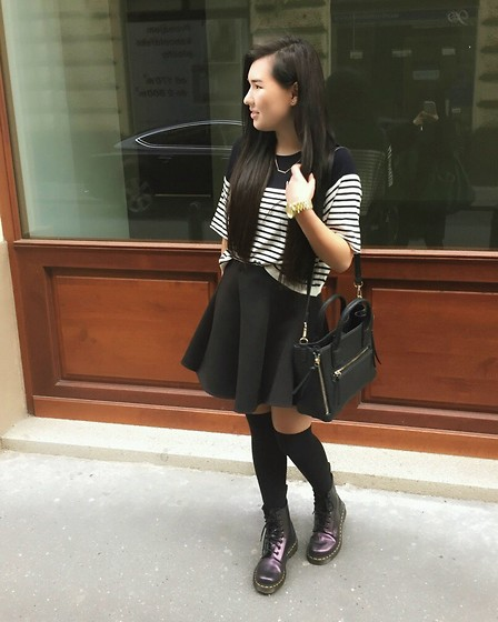 Ami B. - Zara Top, Mango Bag, Dr. Martens Boots, Michael Kors Watch - 20.10.2014