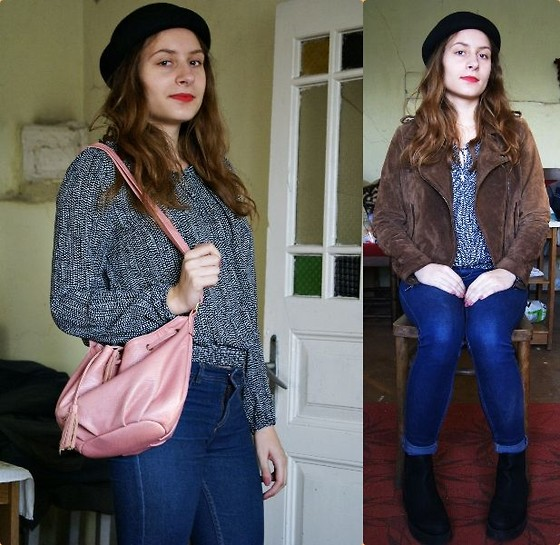 Wiktoria K. - Mango Leather Jacket, H&M Blouse, Promod Bag, Bershka Jeans, Akira Chelsea Boots - After a break, fall look