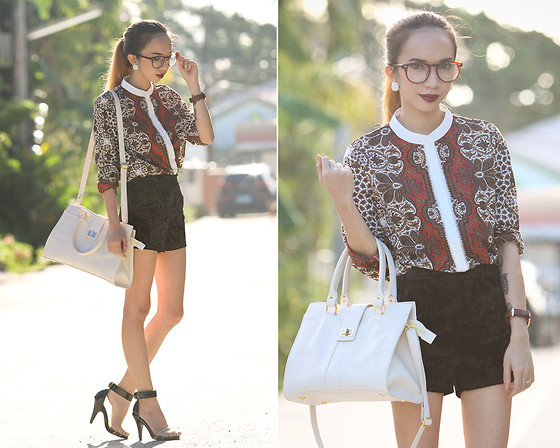 Wicked Ying NEW - Pinkaholic Paisley Buttondown Top, Maxene's White Bag, Libebi White Stud Earrings - Vanilla Twilight