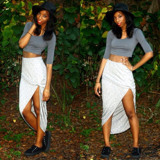 Alexa C - Crop Top, Maxi Skirt, Wide Brim Hat, Platform Sneakers - Montreal