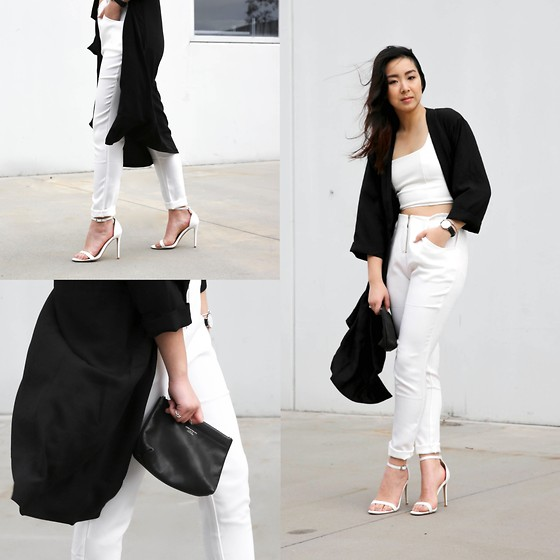 Kristy Wu - Missguided Square Neck Crop Top, Marianka Cigarette Trouser, Snake Sandal, Anais Duster Coat, Daniel Wellington Watch - KW X Missguided Tailoring