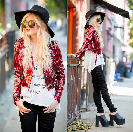 Rachel Lynch - Nasty Gal Black Hat, Lip Service Red Moto Jacket, Wildfox Couture Beach Tank, Hudson Black Moto Jeans, Yru Black Platforms - Hudson Jeans