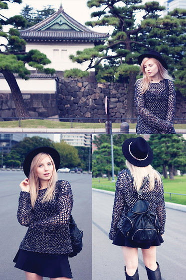 Elle - Hat, Leather Backpack - Tokyo Imperial Palace