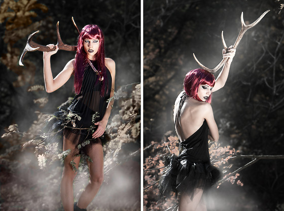 Dora D. - Eighth Sin Black Pleated Open Back Top, Self Made Organza Skirt - Legends of White Deer