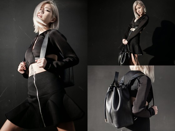 Eugénie Grey - Bucket Bag, Nyct Chelsea Peplum Skirt, Asilio Mystic Forces Top - All Black Everything