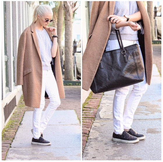 Dannon K Collard - H&M White Skinny Jeans, Zara Camel Oversized Coat, H&M Grey Sweatshirt, Daniel Wellington Lady Sheffield Watch, Steve Madden Quilted Sneakers - Autumn Whites + Camel Coats