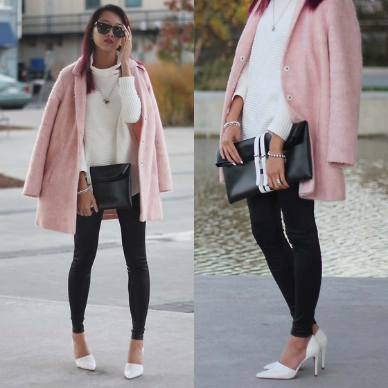 Jeannie Y - Topshop Coat, Zara Sweater, Choies Clutch, Forever 21 Pleather Leggings, Zara Pumps - WMCFW Day 4