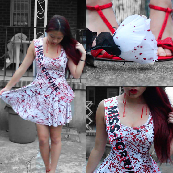 Michelle Wu - Black Milk Clothing Blood Splatter Skater Dress, Inc International Concepts Bow Heels, Party City Miss Fortune Sash - Miss-fortune