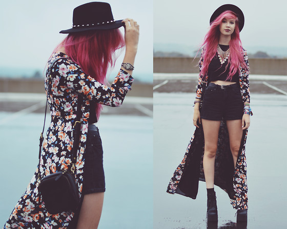Amy Valentine - H&M Spiked Fedora, Missguided Effie Floral Maxi Dress, Missguided Anisah Ribbed Crop Top, New Look Black Mom Denim Shorts, Status Anxiety Law Of The Wild Black Shoulder Bag, Ark Black Cleated Boots - UNPIN YOUR BUTTERFLIES + GIVEAWAY