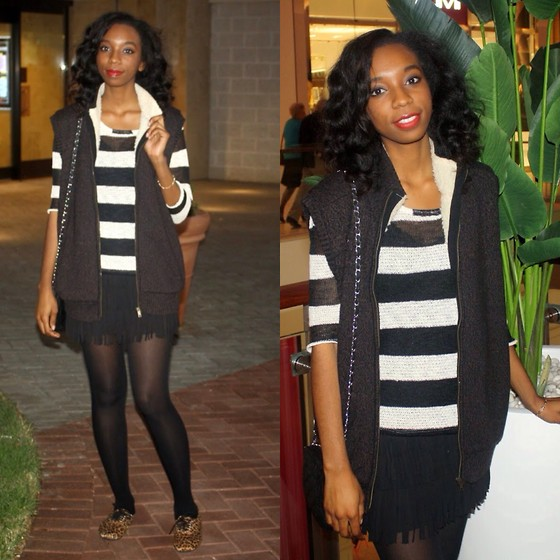 Alexa C - Striped Sweater, Forever 21 Fringe Skirt, Vest, Tights, Love Culture Leopard Oxfirds - Only 1