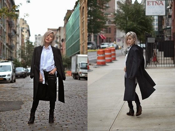 Eugénie Grey - Acne Studios Dover Wool And Mohair Coat, Yesstyle Oversized Button Up, Paige Edgemont Jeans, Acne Studios Pistol Boot - Back in the City