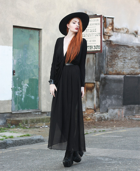 Olivia Emily - American Apparel Wool Floppy Hat, Missguided Drape Wrap Top, Asos Black Chiffon Skirt, Jeffrey Campbell Freda Boots, Os Accessories Lunarbird Cuff - Violet.