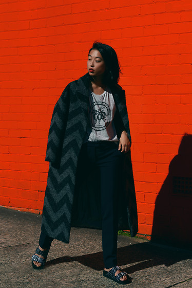 Margaret Zhang - Max&Co. Overcoat, Cameo The Label Tank, S E N O Slippers - Red Herring