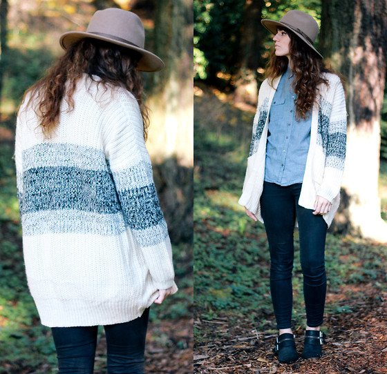 Tonya S. - Tobi Opposites Attract Cardigan, Urban Outfitters Panama Hat, Madewell High Rise Pants, Shellys London Boots - Northwest Native