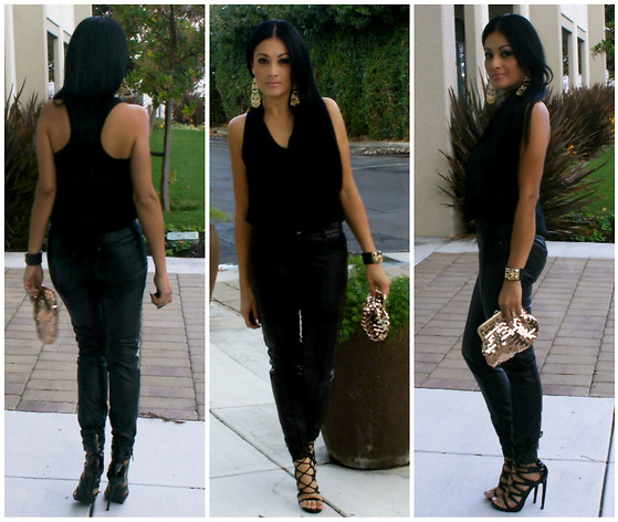 Marina Hidalgo - Tobi Top, Romwe Faux Leather Pants, Shoedazzle Heels, Forever 21 Sequin Clutch, Forever 21 Earrings - Love Is The New Black