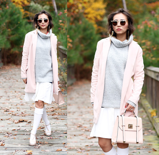 Queen Horsfall - Sheinside Pink Coat, Kristin Perry, Forever 21, Young Hungry Free, Nordstrom - Fall Trend: Pastels
