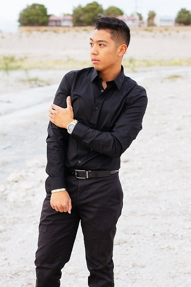 Gary Agunos - Express Dress Shirt, Express Belt, Michael Kors Watch, Express Dress Pants - All Black 2