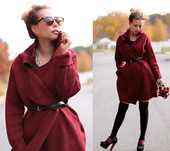 Queen Horsfall - Sheinside Wine Red Cardigan, Kristin Perry Accessories The Diana Necklace - Wine Red Shades