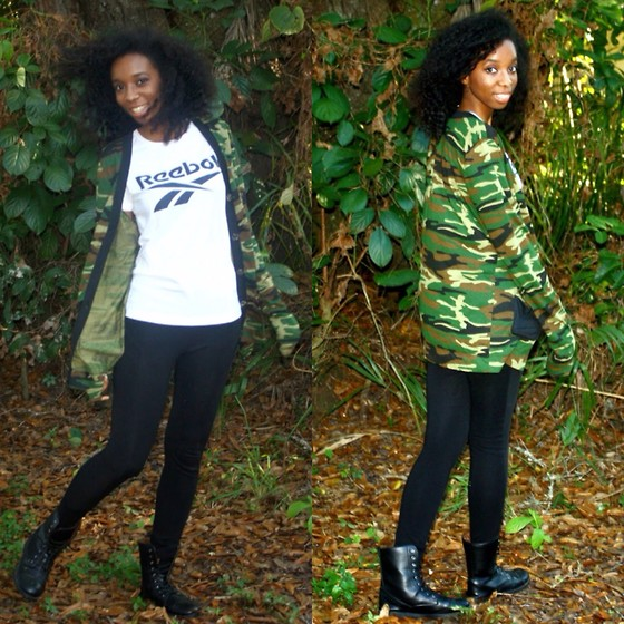 Alexa C - Camo Print Cardigan, Reebok Logo Ter, Leggings, Combat Boots - End Of The Road