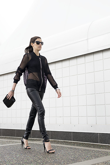 Melissa Araujo - Bomber, American Apparel Crop Top, H&M Leather Pants, Rachael Ruddick Bag, Nasty Gal Heels - Mesh & Leather