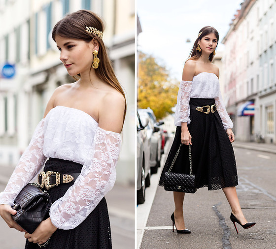 Michèle Krüsi - Asos Top, Theory Skirt, Belt, Chanel Bag, Christian Louboutin Shoes, Headpiece, Earrings - Lace Romance