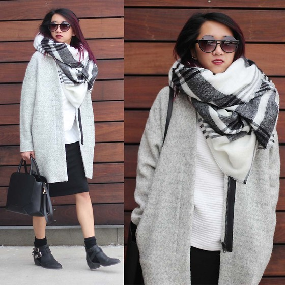 Jeannie Y - Zara Wool Coat, Zara Blanket Scarf, Zara Sweater, H&M Ribber Skirt, Auxiliary Bag - Oversized