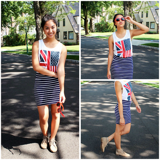 Mai Sunshine - H&M Tee, Forever 21 Skirt, Necessary Clothing Shoes, Keds Sunglasses - The Fourth of July Series: Stars and Stripes