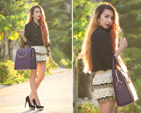 Wicked Ying NEW - Choies Crochet Shorts, Gregory Sylvia Davenport Bag, Daniel Wellington Leather Watch - Pure and Purple