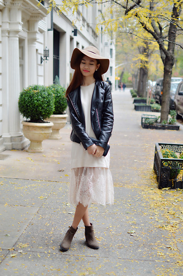 Lucy Liu - Forever 21 Hat, Express Jacket, H&M Boots, See By Chloé Wallet, Forever 21 Dress - Autumn