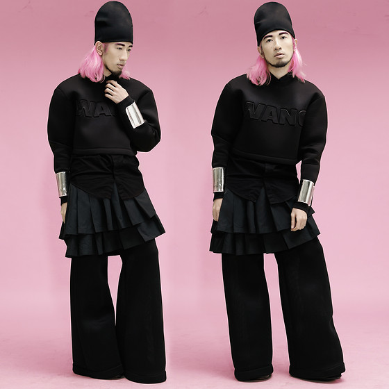 Andre Judd - Alexander Wang Beanie Worn Reversed, Alexander Wang Cropped Sweater, Button Down Shirt, Pleated Skirt, Wide Leg Trousers, Ann Ong Silver Cuffs - ITS A WANG THANG