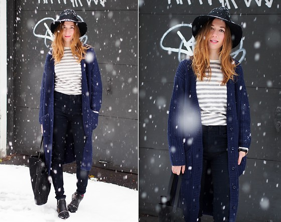 Gabrielle Lacasse - The Free Island Cardigan, S E N O Boots, Joe Fresh Striped Sweater - Snow, you say?
