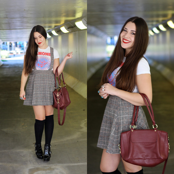 Natalie C - Forever 21 Plaid Suspender Skirt, Forever 21 Knee High Socks, Liz Claiborne Oxblod Bag, Michael Kors Booties, Ramones Tee - Up on the Roof, Out on the Street