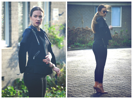 Braidsandeyeliner - Mango Leather Jacket, Zara Pants, Buffalo Shoes Heels - Timeless
