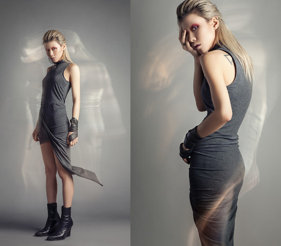 Dva Lau - Swell Asymmetric Dress, Ann Demeulemeester Ankle Boots - Soul Departs