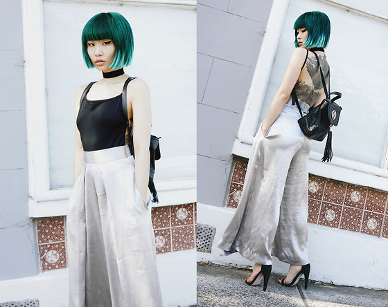 PYRRHICS † - Solace London Metallic Silver Culottes - SOLACE