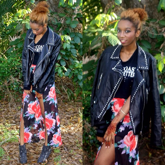 Alexa C - Forever 21 Moto Jacket, East Coast Does It Better Tee, High Waist Skirt, Booties - Confessions