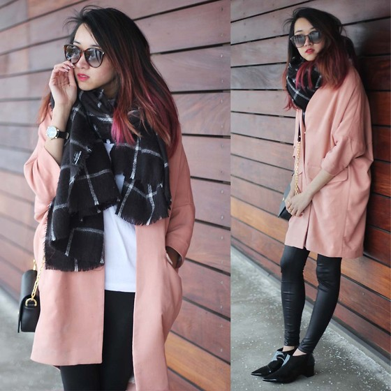 Jeannie Y - H&M Coat, Topshop Boots, Zara Blanket Scarf, Saint Laurent Sunglasses, Marc By Jacobs Watch - The Weekend