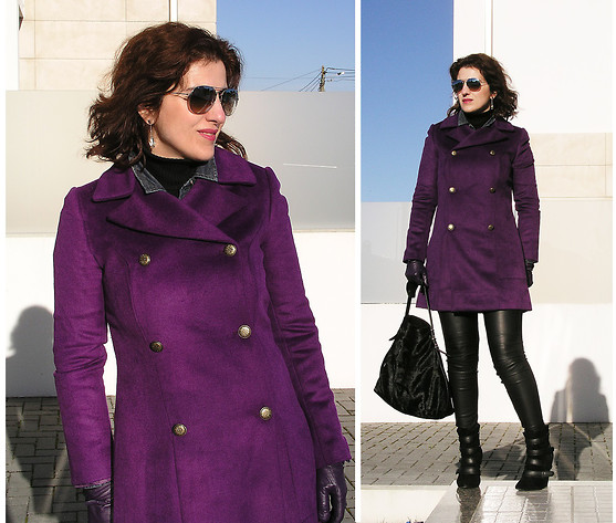 Teresa Leite - Suiteblanco Purple Coat, Zara Leather Front Panel Leggings (Old), Mango Wedge Ankle Boots With Straps (Old), Zara Calf Hair Tote Bag, Swarovski Crystal Teardrop Earrings, Massimo Dutti Silver Mirrored Aviators - Rest your Mind, Tomorrow will be a Better Day