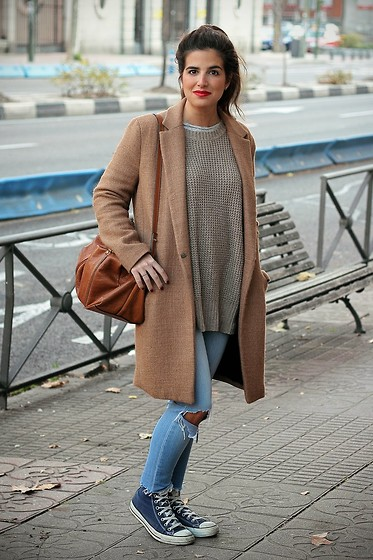 Blanca A.M. - Zara Coat, Zara Bag, Converse Sneakers - Walking Around