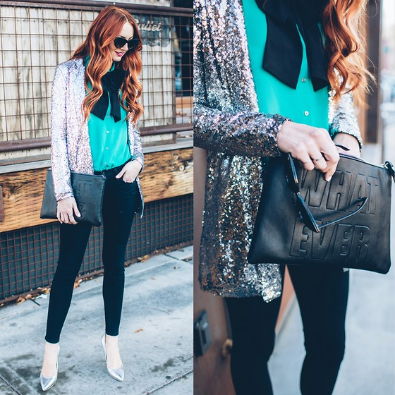 Jackie Welling - Nasty Gal Sequin Blazer, Asos Clutch - Sequins are a Girl's Best Friend