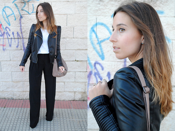 Claudia Villanueva - Zara Leather Jacket, Zara White T Shirt, Suiteblanco Studded Bag, Asos Palazzo Pants - Rocking my Palazzos