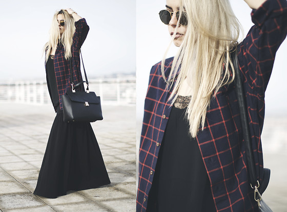 Inês M - Boyfriend Plaid Shirt, Asos Wide Skirt, H&M Bag - Wide Moch