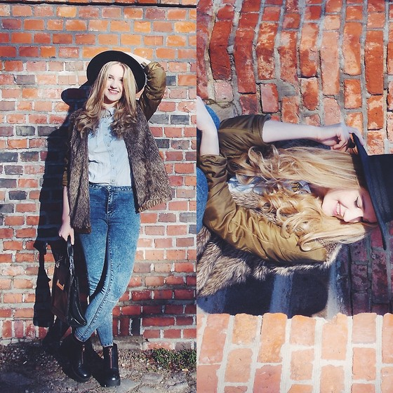 Agnieszka Warcaba - H&M Hat, Bershka Fur, H&M Shirt, Pull & Bear Jeans, No Name Bag, H&M Boots - Fur & Jeans
