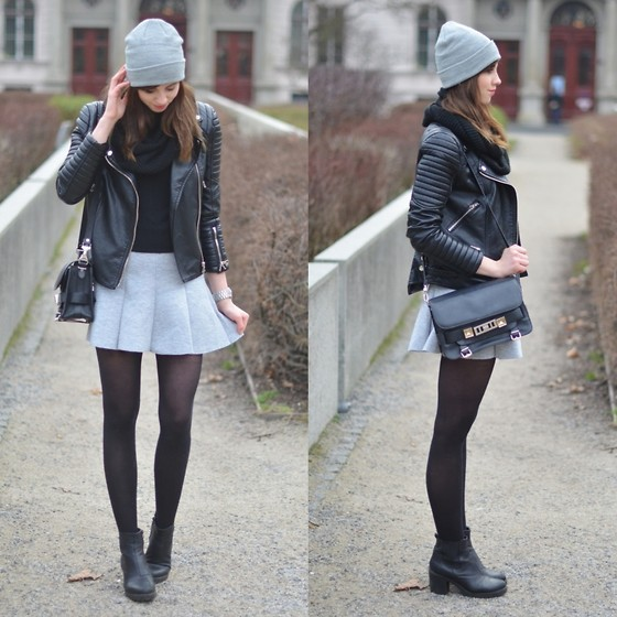 Barbora Ondrackova - Chiquelle Jacket, Proenza Schouler Knit, Choies Skirt - GREY BEANIE