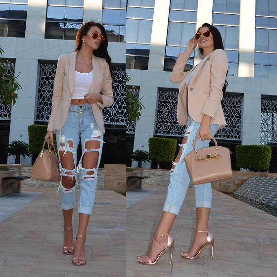Laura Badura - Zara Blazer, The Kript Jeans, Stuart Weitzman Heels, Ted Baker Bag, Ray Ban Sunglasses, H&M Vest - Beautiful Destruction