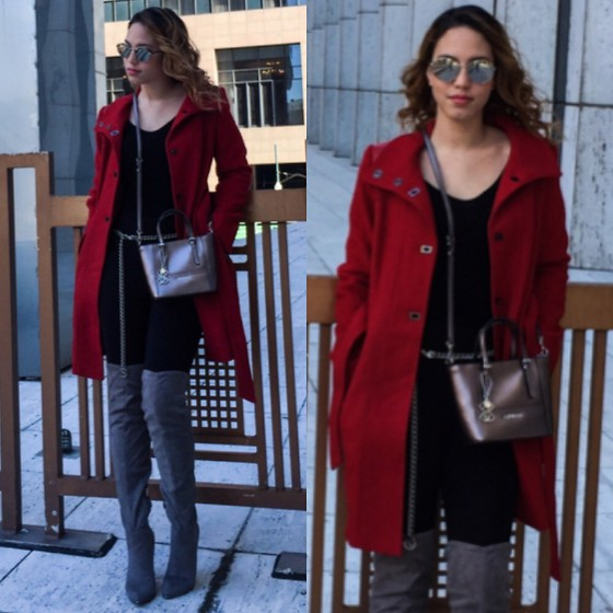 Lisnet R. - Guess? Natalie Jacket, Guess? Delaney Metallic Mini Tote, Guess? Zonian Faux Suede Over The Knee Boots - Red coat love