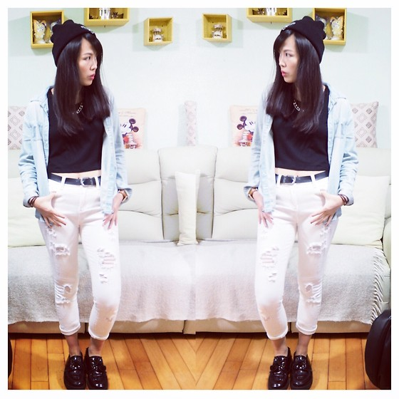 Joyce Tse - Pieces White Ripped Jeans, Monki Black Crop Top, New Look Denim Shirt, Underground Creepers, Vintage Beanie - OOTD
